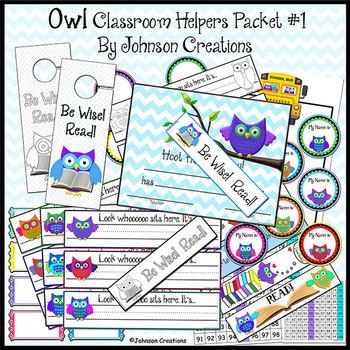 Owl Classroom Helpers Packet 1
