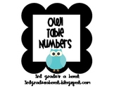 Owl Classroom Table Numbers