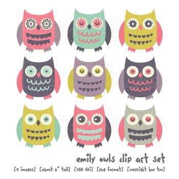 Owl Clip Art, Pink, Aqua, Blue, Purple, Mustard Yellow, fo