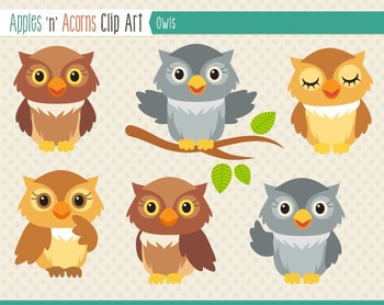Owl Clip Art - color and outlines