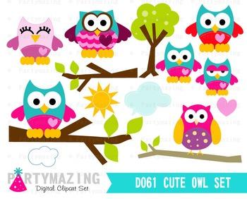 Owl ClipArt, Cute Owl Clip art Set, Owl Forest Clipart Set D061