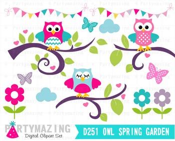 Owl ClipArt, Owl Garden Clipart Set, Spring Owl Garden Clip D251