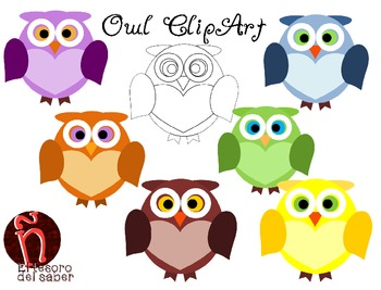 Owl Clipart + Line art - Personal and Commercial Use