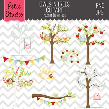 ON SALE Owl Perched in Trees Clipart // Fall Trees Clipart