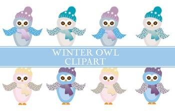 Owl Clipart - Winter Colors