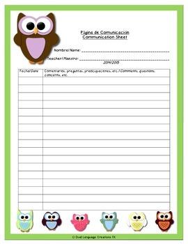 Owl Communication Sheet