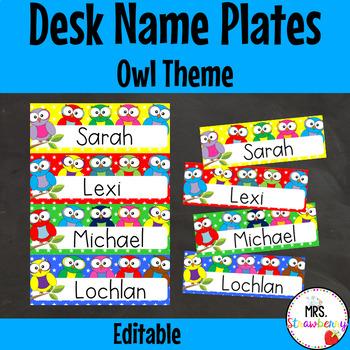 Owl Desk Name Plates | Labels **Editable**