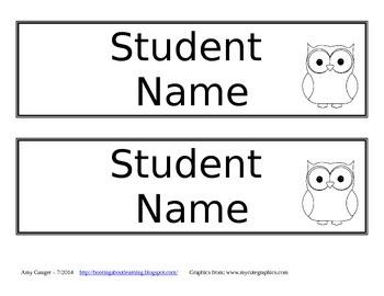 Owl Desk Name Plates