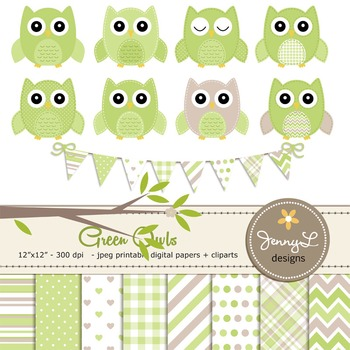 SET: Owl Digital Papers and Clipart: Green Stitched Owl