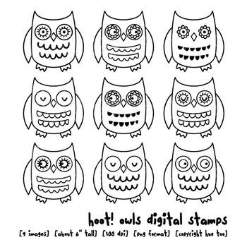 Owl Digital Stamps, Owl Clip Art (Transparent Backgrounds)