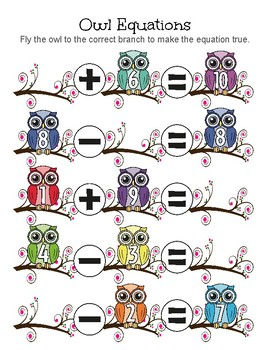 Owl Equations Addition/Subtraction Game