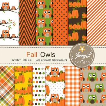 Owl Fall Autumn digital paper