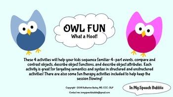 Owl Fun-Sequencing, Compare/Contrast, Object Identificatio