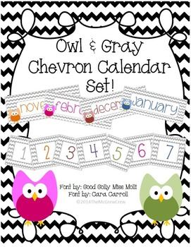 Owl & Gray Chevron Calendar Set