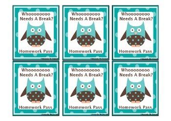 Owl Homework Pass Freebie!