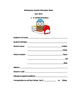 Owl Kindergarten Information Sheet for Beginning of School Year