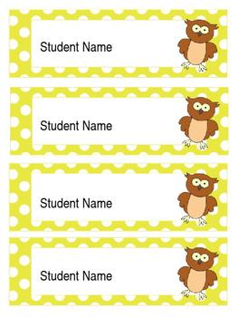 Owl Labels (Editable Chevron and Polka Dot colours)