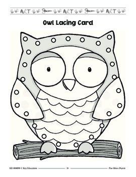 Back to School Owl Lacing Card Reproducible Grade PK