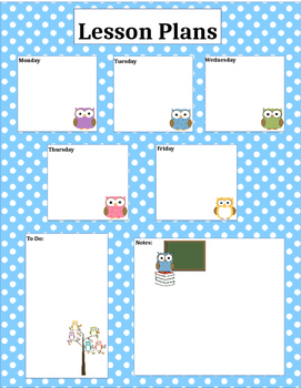 Owl Lesson Plan form