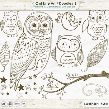 Owl Line Art, Owl Digital Stamp Outlines, Owl ClipArt, Bir