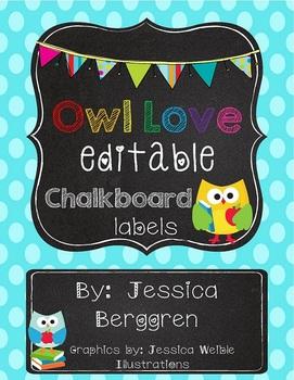 Owl Love Editable Chalkboard Labels