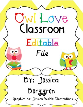 Owl Love Editable File {White Background}