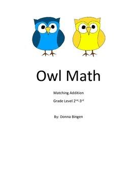 Owl Math Matching Addition File Folder Game