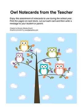 Owl Notecards from the Teacher