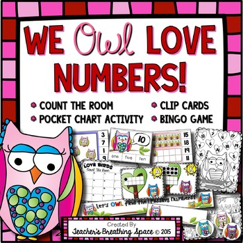 Valentine's Numbers 1-20 --- BINGO, Clip Cards, Pocket Cha