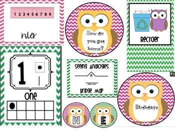 Owl Pink and Green Chevron Bundle