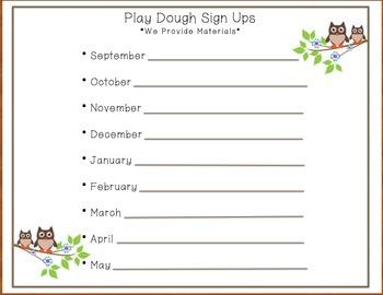 Owl Play Dough Sign - Ups