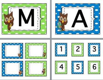 Owl & Polka Dot Class Decor-EDITABLE-Word Wall Headers-Lab