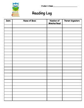 Owl Reading Log with Comic Sans Font