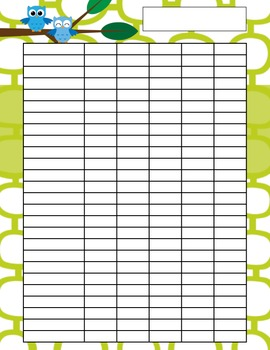 Owl Recording Chart - Teacher Organization