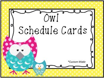 Owl Schedule Cards *custom made