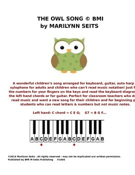 Owl Song - children's song w/ keyboard letters instead of
