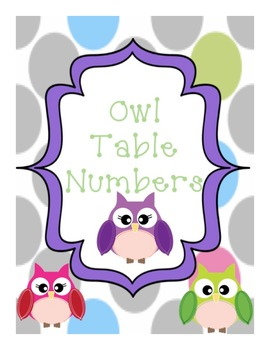 Owl Table Number Labels