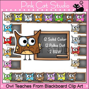 Owl Clip Art - Owl Teaches at the Blackboard Clip Art - Co
