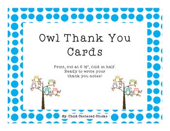 Thank You Cards Owl Theme