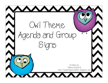 Owl Theme Agenda & Group Signs