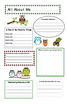 Owl Theme All About Me Poster (back to school)