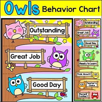 Behavior Chart - Owl Theme Classroom Decor Behavior Clip Chart