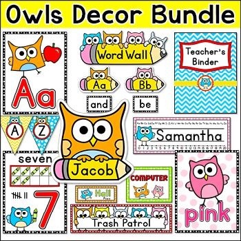 Owl Theme Classroom Decor Pack - Jobs Labels, Word Wall, T