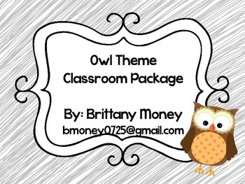Owl Theme Classroom Set (teal, gray and green)