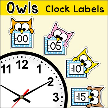 Owl Theme Telling Time Clock Labels - Back to School Class