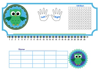 Owl Theme Desk Plate or Name Plate with Reward Chart