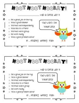 Owl Theme Good Day Behavior Notice