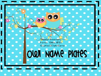Owl Theme Editable Name Plates