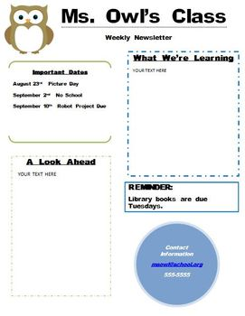 Owl Theme Newsletter Fully Editable Word