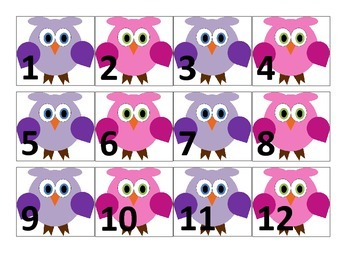 Owl Themed Number Cards 1-100